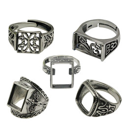 Thailand sTerling silver rings online shopping - Beadsnice Vintage Style Rings Thailand Silver Ring Setting Sterling Silver Square Ring Base Adjustable ID