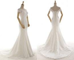 Train works online shopping - 100 Real Work Lace Off Shoulder Wedding Dresses Spring Summer Back Lace Up Bridal Gowns Sweep Train Cheap Bridal Vestidos Custom Made