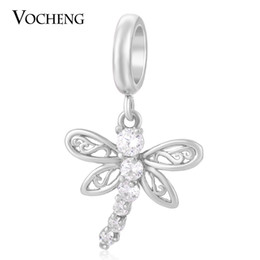 Jewelry stone material online shopping - VOCHENG Endless Charms Dangle Jewelry Colors Brass Material Inlaid CZ Stone Non fading Interchangeable Dragonfly Charm VC