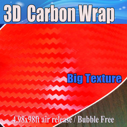 color laptops free NZ - 3D Carbon Fibre vinyl Film Air Bubble Free Car styling Free shipping Carbon laptop covering skin 1.52x30m Roll