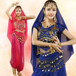 India Dance Belly Clothes Pas Cher-4pcs Vente Hot Set Belly Dance Costume Bollywood Costumes Femmes Belly Dance Vêtements Inde Danse Dress Dnacewear