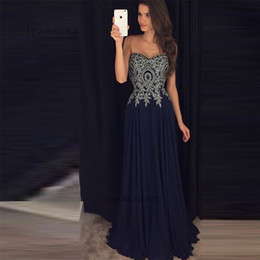 Barato Barato Vestido De Noite De Prata Longo-Navy Blue Prom Dresses 2017 Cheap Silver Lace Vestidos do Baile de Finalistas Formal Long Evening Gowns Graduação Dress Courte