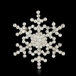 White Flower Brooches Canada - Jewelry 2016 New Fashion Crystal Flower Brooch Beautiful Design white Rhinestone snowflake Brooches For Women Wedding & Party B044