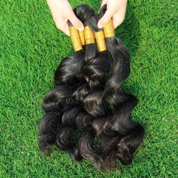 Bulks Hair For Cheap Canada - Human Hair Bulk 3 Bundles Deal Cheap Brazilian Loose Curly Wave Hair Extensions No Weft in Bulk for Micro Braids Cloris Products