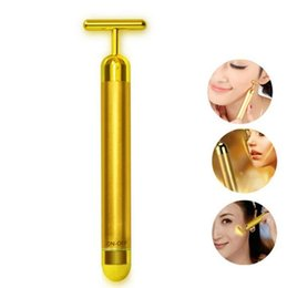 Barato Massageador Facial Derma-Tecnologia do Japão 24K Beauty Bar Golden Derma Roller Energy Face Massager Beauty Care Vibration Facial Massager Frete Grátis