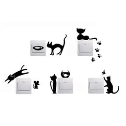 $enCountryForm.capitalKeyWord UK - 1 Set of 5pcs Removable Cute Lovely Black Cat Switch Wall Sticker Vinyl Decal Home Decor Decal Free Shipping