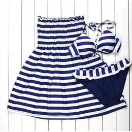 Barato Bikini Marinha Listrado-3pcs / set Navy Zebra Striped biquíni conjunto empurrar Swimsuit Mulheres Plus Size Bathing Suits Lady Swimwear Beach Dress