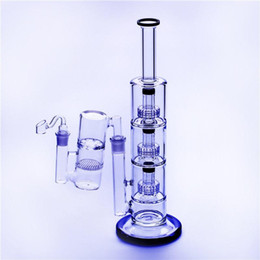 """China Glass Bong Oil Rigs and Tobacco Two Functions,Triple Birdcage Recycler Filter Bongs Height 16""""inches 18.8mm Joint With Ash Catcher+Bowl suppliers"""
