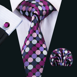 Woven Silk Ties Cufflinks Australia - Classic Silk Men Ties Colorful Mens Neck Ties Dot Tie Sets Tie Hanky Cufflinks Sets Jacquard Woven Meeting Business Wedding Party N-1523