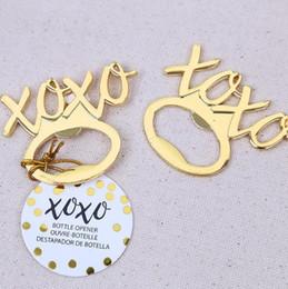 Metall goldenes XOXO Bier Flaschenöffner, der Giveaways Brautpartybevorzugungen frei gibt Verschiffen neue 50pcs Losgroßverkauf im Angebot
