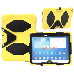"""Tab3 Tablet Canada - Tablet pc case for samsung galaxy Tab3 P5200 10.1""""  P3200 7.0"""" silicone shockproof case resistance shell With Kickstand Front film"""