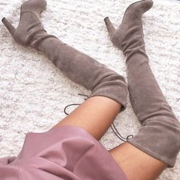 over knee stretch boots Canada - Women Stretch Faux Suede Slim Thigh High Boots Sexy Fashion Over the Knee Boots High Heels Woman Shoes Black Gray Winered