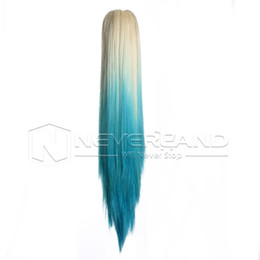 Ombre ponytail extension claw clip online ombre ponytail wholesale 20 women girls ombre hairpiece long straight claw ponytail clip in hair extensions blonde to light blue 2016 hot pmusecretfo Images