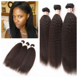 Discount mongolian afro kinky straight hair weave - Free shipping top grade afro kinky straight coarse human hair 8-30 yaki kinky straight Natural Color human hair weave 3p