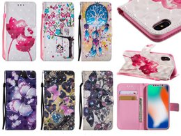 Discount painting butterfly girl - Rose Flower girl Butterfly Painted Wallet Stand Leather Case cover for iphone X 8G 7G 6S PLUS 5S Samsung S8 PLUS NOTE8