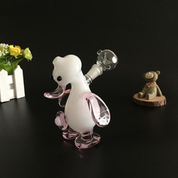 Cute Pink Bong Canada - Cute Glass Smoking Pipes Pink Duck Oil Burner Pipes Tobacco Pipes with 10mm Joint Diffuse Downstem Glass Water Pipes Bongs oil rigs