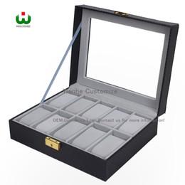 $enCountryForm.capitalKeyWord Australia - 10 Grids Slot PU New Bias Leather Brand Logo Watch Box Display Organizer Glass Top Jewelry Storage ORGANIZER BOX BLACK Grey Interial