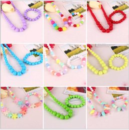 Cute Sweet Candy Color Kids Jewelry 2pcs Children Necklace Bracelet Sets for Girl Gift Multicolor choose from fringe earrings manufacturers