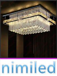 rectangular pendant chandeliers 2019 - nimi701 L80cm*W60cm*H29cm Modern Minimalist Rectangular Crystal Lamp Ceiling Living Room Pendant Lights Restaurant Bedro