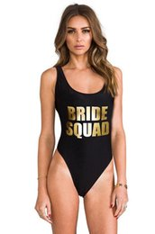 Barato Traje De Banho De Ouro Sexy-Atacado- BRIDE SQUAD Gold Letter Print Sexy Thong One Piece Swimsuit Mulheres High Cut Monokini Swimwear Beach Backless Funny Bathing Suit