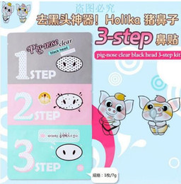 Nose Cleanser Australia - Pig Nose Mask 3 steps Kits Deep Cleanser Pore Cleaner Nose Blackhead Remover Mask Clear holika Nose mask