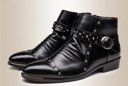 Discount shoes man 43 - 2016 Fashion Pointed Toe Men Shoes Rivet Buckles Leather Boots Men Comfortable Ankle Boots Men Size:37-43 Black