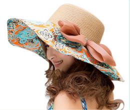 Orange Sun Visors Canada - women Visor summer Sun Protection UV sun hat folding beach hat large brimmed sun hat