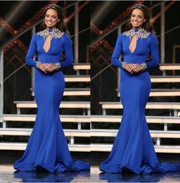 $enCountryForm.capitalKeyWord NZ - Royal Blue Dubai Arabic Kaftan High Neck Long Sleeve Prom Dresses with Gold Embroidery Hijab Mermaid Trumpet Dress Party Evening Wear