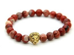 Mens gold lion head bracelet online shopping - New Design Jewelry mm Red Stone Antique Gold Lion Head Bracelets Mens Bracelets