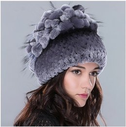 Woman Flowers Garden Canada - Winter Real fur hat for women rex rabbit fur hat with fox fur flowers stripe knitted beanies 2016 new Russia high quality hat