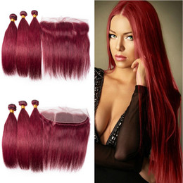 Discount burgundy red hair color - Brazilian Wine Red Silky Straight Human Hair 3Bundles With Frontal 13x4 Burgundy 99J Hair Extensions With Top Frontal Cl