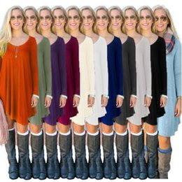 Tops De La Mode Européenne Pas Cher-7 Couleurs Femmes Mode Loisirs Tops irréguliers Long Sleeve Casual Blouse Europe Amérique Solid Color Shirts Loose Long Tank CCA7374 100pcs