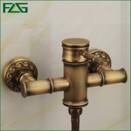 FLG Free Shipping Wall Mounted Antique Brass Bathroom Faucet Bathtub Tub  Mixer Tap With Hand Shower Head Shower Faucet HS008