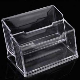 Acrylic Office Supplies Canada - High Quality 2pcs Double Layer Acrylic Business Card Holder Office & School Supplies Free Shipping Business Card Case Papelaria
