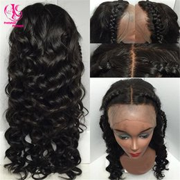 blue wig high quality NZ - Very popular heat resistant black wig Synthetic Lace Front Wig High Quality Classic loose Wave with middle part Synthetic Wig