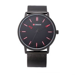 Thin Belt Watches Canada - New CURREN 8233 Ultra thin Watch Man Leisure business The men's Watch Fashion Stainless steel mesh belt calendar Quartz Watches wholesale