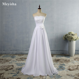 Discount modern casual wedding dress - ZJ9016 High Quality Chiffon Flower Casual Wedding Dresses Beach Boho Vintage 2016 2017 Empire Bridal Gowns Plus Size 2-2