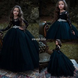 Barato Saia Preta Flor Linha-New Crystal Design Black 2017 Ball Gown Flower Girl Dress Scoop Illusion Long Sleeve Lace Appliques EmpireTulle Saias cansadas Vestidos para meninas