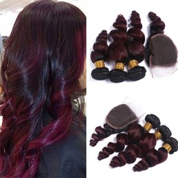 34 inches hair Australia - Burgundy Malaysian Hair Loose Wave With Closure #1B 99J Ombre Hair With Closure Human Hair 3 Bundles With Closure 8A Cheap