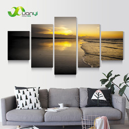 Prints Modern NZ - 5 Panel Sunset Seascape Beach Canvas Painting Wall Art Home Decor Wall Picture For Living Room Modern Printing Unframed PR1269