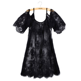China Wholesale-Plus Size Loose Lace Blouse Clothing 2016 Women White Black Off Shoulder Beach Sunscreen Swimsuit Cover Up Summer Sexy Dress cheap white sexy lace swimsuits suppliers