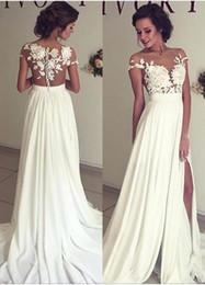 Discount Wedding Dresses Thigh High Slits 2018 Wedding Dresses - Covered Back Wedding Dress