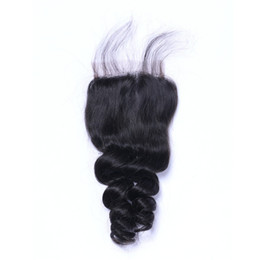 7a peruvian loose wave closure online shopping - Loose Wave Lace Closure Unprocessed Human Hair A Brazilian Indian Malaysian Peruvian Natural Color inch in Stock DHL