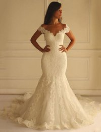 Robe De Sirène Sexy En Gros Pas Cher-Vente en gros Sexy Lace Wed Dress V-Neck Lace Appliques Court Train Custom Made Mermaid Wedding Gown