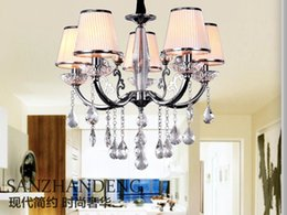 $enCountryForm.capitalKeyWord Canada - Modern Brief Europe Style Fabric Lampshade Crystal Chandeliers Diameter 60cm 5 Arms E14 Light Source Free Shipping