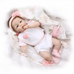 "Silicone Babies Girl Canada - 22"" New Style Half Vinyl Body Baby Doll Toy Brinquedo Girls Birthday Gift Play Doll 22 inch Silicone Reborn Dolls in Pink"