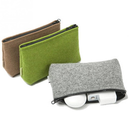 Chinese  Wholesale- Fashion Universal Pure Color Carrying Case Digital Storage Bag Portable Felt Fiber Travel Pouch Cable Power Bank Hard Disk Bag manufacturers