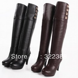 $enCountryForm.capitalKeyWord NZ - free shipping-2019 New Arrival Women fashion middle heel over knee casual boots buckles feece winter pump boots Big Size cheap boots girls