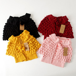 wholesale ruffled sweater Canada - New Kids Girls Knitted Cardigan Sweaters Caped Design Ruffles Fall Winter Jackets Outwears Wholesale