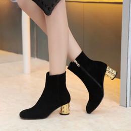 Short loop online shopping - new u651 black genuine leather gold heels short boots l matte luxury designer runway l fashion brand